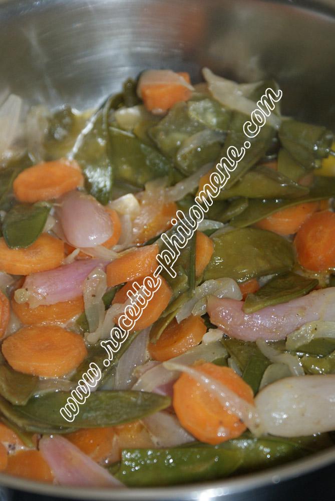 Haricots mange tout aux carottes et aux oignons plats - Haricot mange tout ...